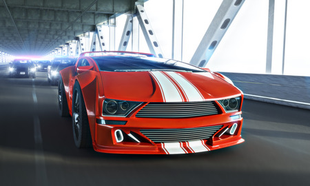 High speed police chase of a Generic exotic sports car over a long bridge. 3d rendering