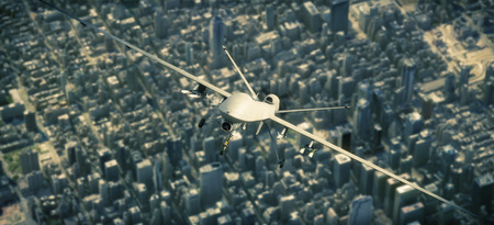UAV  armed reconnaissance and attack drone flying high above a metropolitan city. 3d rendering Stock Photo
