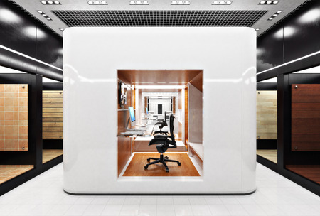 Office business cubical workstation area in a modern design setting. 3d rendering