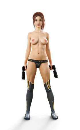 Sexy confident red headed futuristic female soldier holding duel pistols semi nude on a white isolated background. 3d rendering