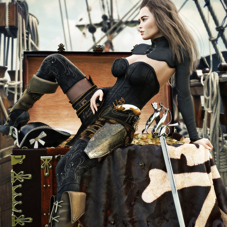 Sexy adult female pirate with long brown hair enjoying her newly acquired treasure aboard her pirate ship. 3d rendering