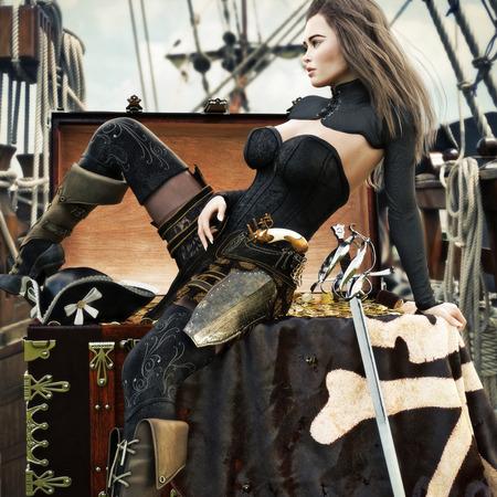 Sexy pirata mujer adulta con largo cabello castaño disfrutando de su tesoro recién adquirido a bordo de su barco pirata. Representación 3d
