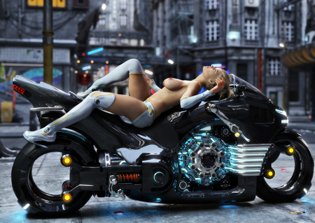 Sexy young female in modern attire posing nude with her custom science fiction light cycle motorcycle in a futuristic urban background setting.3d rendering
