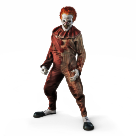 Frightening evil looking clown posing on a white isolated background. 3d rendering Stock Photo