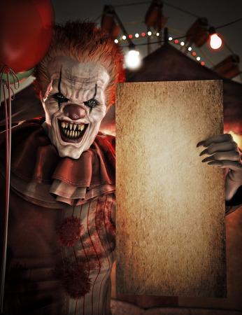 Straszny klaun trzymający pusty pusty grunge makiety plakat znak zaproszenia na Halloween lub imprezę reklamową z miejscem na tekst lub miejsce na kopię. Motyw cyrku w tle. Renderowanie 3d