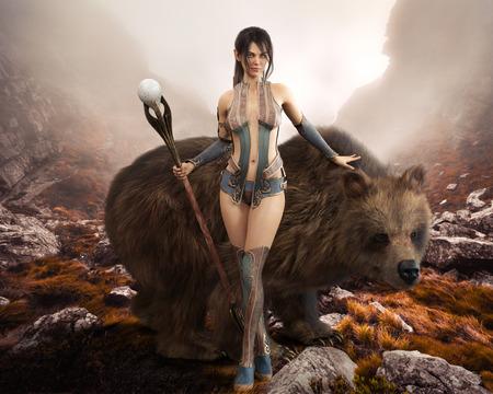 Fantasie elegante Druidenfrau, die der Natur gewidmet ist und mit ihrem magischen Stab und ihrem riesigen Haustierbären posiert. 3D-Rendering