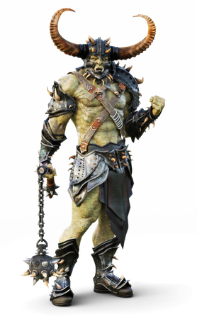 Savage Orc leader warrior wearing traditional armor. Fantasy themed character posing on an isolated white background. 3d Rendering Stock Photo
