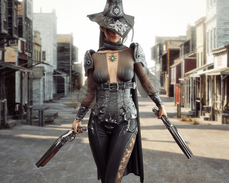 Female cowgirl gunslinger walking through the center of a western town with duel sawed off shotguns. 3d rendering Standard-Bild - 111176239