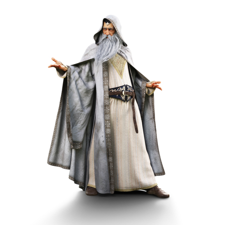 Portrait of a wizard preparing to cast a spell on an isolated white background. 3d rendering