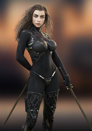Guerrera futurista sosteniendo espadas de duelo posando lista para el combate. Representación 3d Foto de archivo