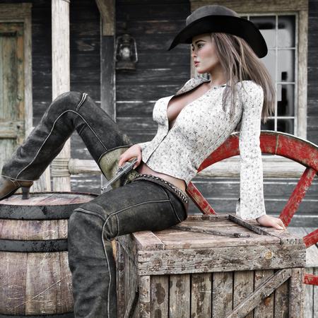 Pistolero de vaquera mujer con clase sexy relajante en la ciudad con su pistola revólver lista. Representación 3d