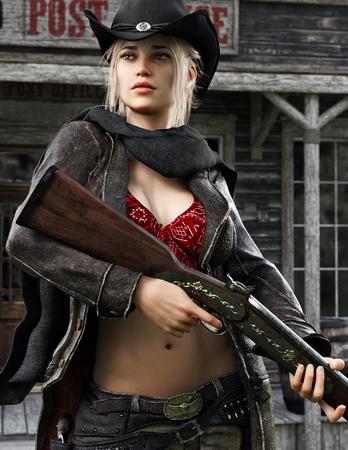 Pistolero vaquera rubia femenina posando con arma en mano. Representación 3d