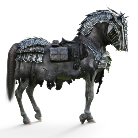 Side view of a posing armored war horse on a isolated white background. 3d rendering