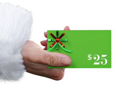 Man holding out a $25.00 gift card mock up in a Santa Christmas costume on a white background with room for text or copy space. 3d rendering