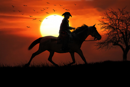 Cowboy and his trusted horse riding off into the sunset. 3d rendering Stock Photo