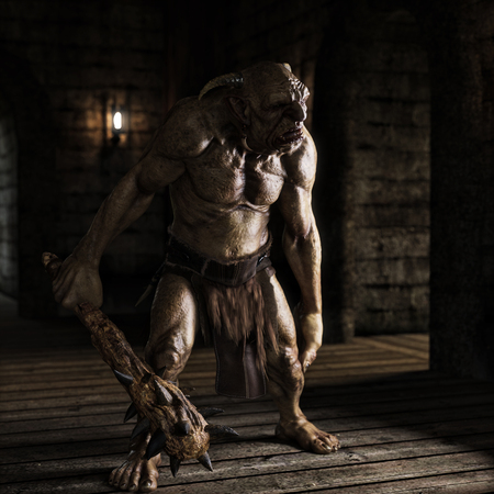 An evil troll with spiked club wandering the labyrinth halls looking for prey . 3d rendering Stock Photo
