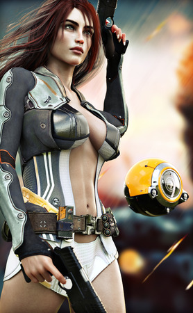 Confident sexy Female scifi soldier . 3d rendering Stock Photo