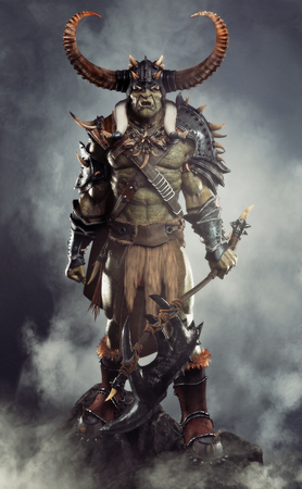 Savage Orc Brute leader posed on a rock outcrop wearing traditional armor and equipped with a large axe  . Fantasy themed character with a haze and smoked background. 3d Rendering