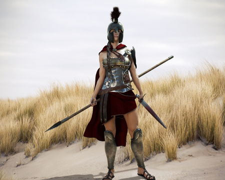 The Spartan. Portrait of a battle hardened Greek Spartan female warrior equipped with a sword and spear ready for battle. 3d rendering. Stock Photo