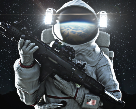 American military space force soldier holding a weapon with Earths reflection in the helmet. 3d rendering Stock Photo