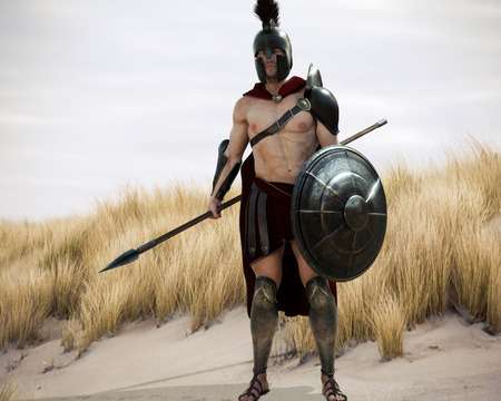 Portrait of a battle hardened Greek Spartan male warrior equipped with a spear and shield ready for battle. 3d rendering.