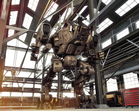 Robot Futuristic Mech weapon with full array of guns tucked away in an industrial hangar. 3d rendering