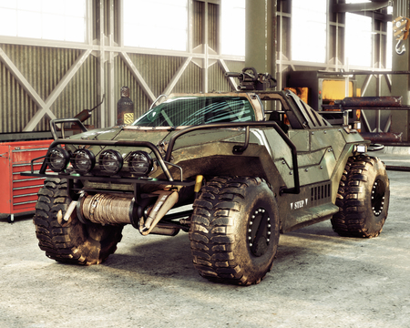 Weaponized off road combat vehicle stored inside an industrial hangar. 3d rendering Zdjęcie Seryjne