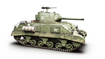 Vintage American World War 2 armored medium combat tank on a white background. WWII 3d rendering Stok Fotoğraf