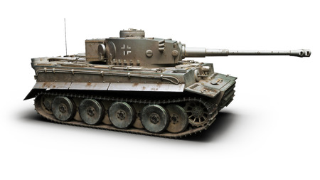 Vintage German World War 2 armored heavy combat tank on a white background. WWII 3d rendering