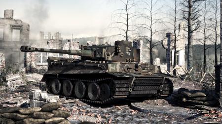 Vintage deutscher gepanzerter schwerer Kampfpanzer aus dem 2. Weltkrieg auf dem Schlachtfeld. WWII 3D-Rendering Standard-Bild
