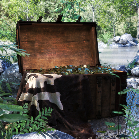 Pirate chest discovered by a forest pond filled with treasure coins . 3d rendering