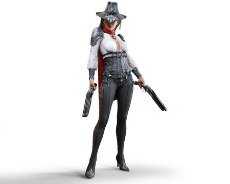 Porträt eines mysteriösen Steampunk-Frauenrevolverhelden, der zwei Schrotflinten auf einem isolierten weißen Hintergrund hält. 3D-Rendering