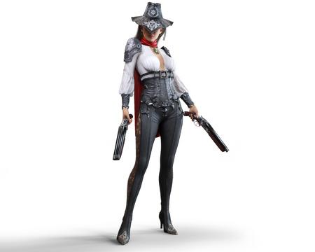 Retrato de una misteriosa mujer steampunk pistolero sosteniendo dos escopetas sobre un fondo blanco aislado. Representación 3d