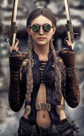Portrait of a beautiful steampunk woman gunslinger holding two pistols  3d rendering