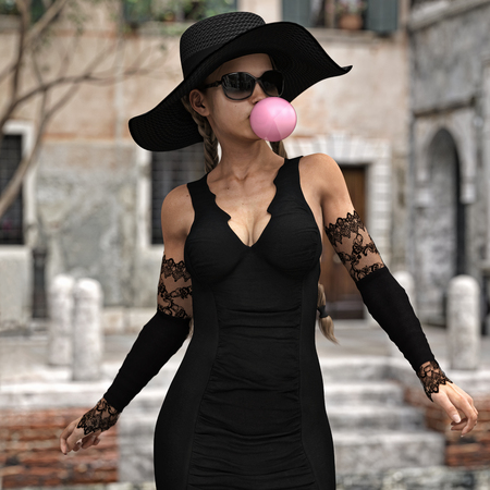 Dainty stylish female strolling through town blowing a bubble gum bubble.Woman is wearing sunglasses, a tight black mini dress with matching lace gloves, and a shaded hat .3d rendering Zdjęcie Seryjne