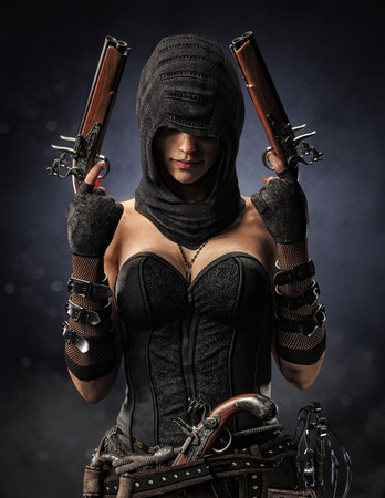 Portrait of a hooded well armed female pirate Assassin with multiple black powder pistols and a cutlass sword on a bokeh background. 3d rendering