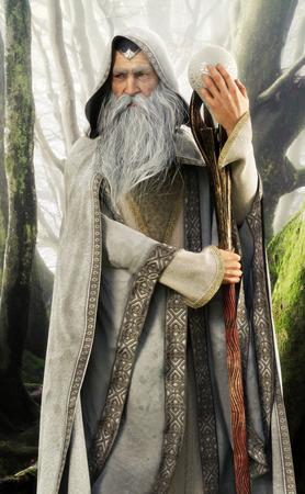 Retrato de un mago con capa gris encapuchado sosteniendo su bastón mágico en un bosque encantado. Representación 3d