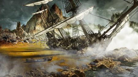 Barco pirata varado en una tierra escénica mística. Representación 3d Foto de archivo