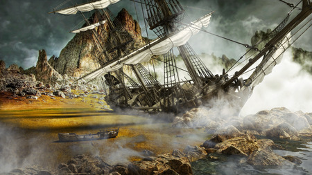 Beached pirate ship in a mystical scenic land. 3d rendering Zdjęcie Seryjne