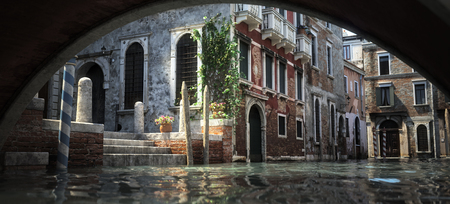 Floating in the Canals of the enchanting romantic architecture and waterways of Italy. 3d rendering Illustration Stock Photo