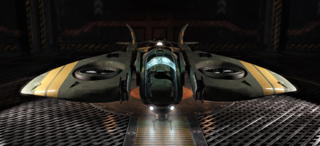 Single person light space craft docked in a hangar . 3d rendering