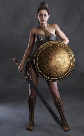 Portrait d'une femme amazonienne posée avec une épée, un bouclier et un fond de studio. rendu 3D