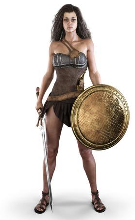 Portrait d'une femme amazonienne posée avec une épée et un bouclier sur un fond blanc isolé. rendu 3D