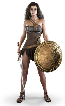 Portrait of a sexy amazon female posed with a sword and shield on an isolated white background. 3d rendering Zdjęcie Seryjne