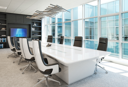 Contemporary Office conference room  interior with abstract accents. 3d rendering Zdjęcie Seryjne