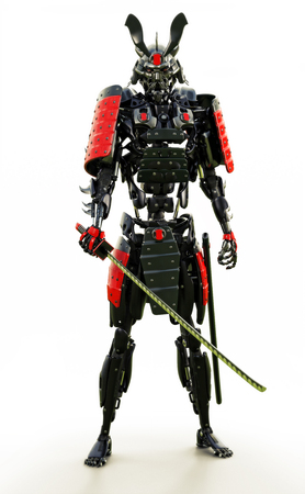 Samurai mechanized cyborg warrior on a white background. 3d rendering