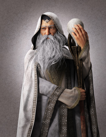 Portrait of a fantasy white wizard with a staff and a backdrop background. 3d rendering