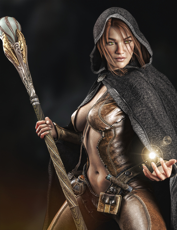 Fantasy cloaked wizard female posing with staff using magic. 3d rendering Banco de Imagens