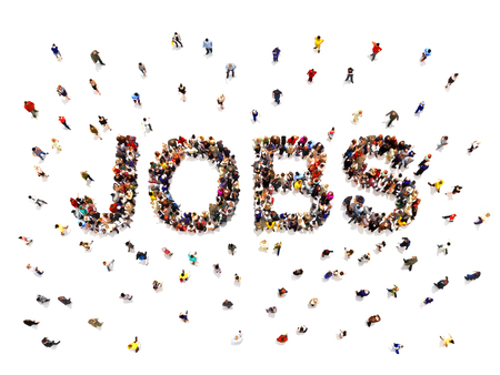 Jobs concept .3d rendering of a diverse large group of people forming the shaped text word for people finding jobs and employment opportunity. Illustration is on an isolated white background Zdjęcie Seryjne