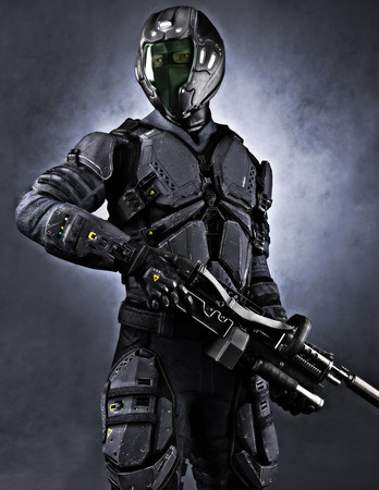Portrait of a masked futuristic armored soldier with a studio background. 3d rendering Archivio Fotografico